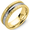 High Quality Two Tone Gold Etched Wedding Bands.